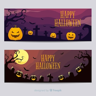 Scary halloween banner on flat design