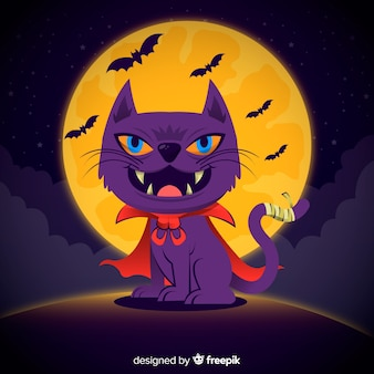 Scary halloween cat background