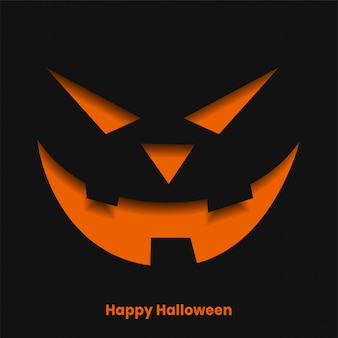 Scary halloween ghost face in paper cut style illustration