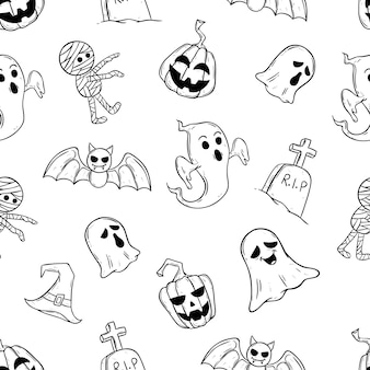 Scary halloween icons in seamless pattern with doodle style