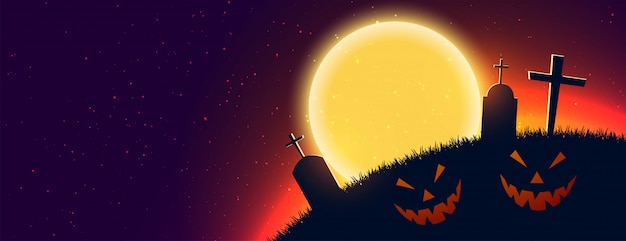Scary halloween night scene banner with text space