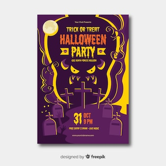 Scary halloween party poster template in flat design