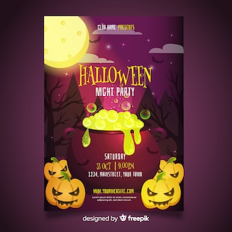 Scary halloween party poster template