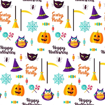 Scary halloween party seamless pattern. vector illustration. trick or treat.