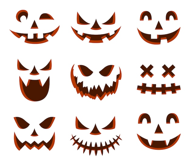 Scary halloween pumpkin face icon
