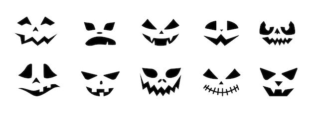 Страшная тыква хэллоуина стоит перед набором иконок.