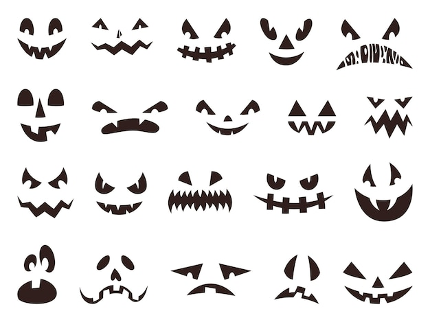 Scary halloween pumpkin faces silhouette, evil ghost eyes. funny or spooky pumpkins mouths, autumn holiday lantern face icon vector set