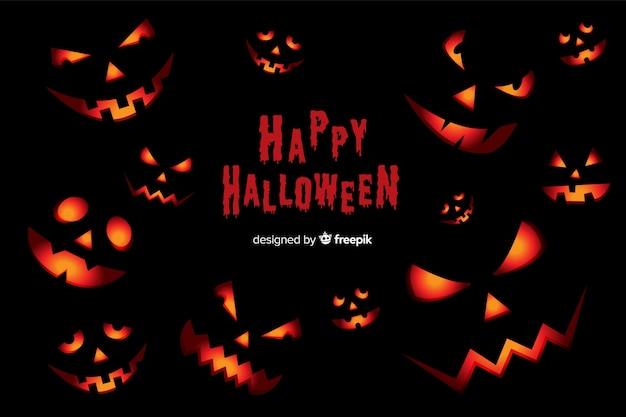 Scary halloween pumpkins background in flat design