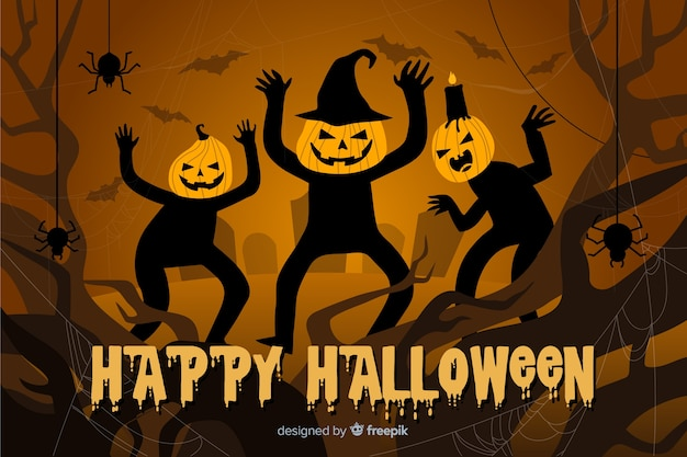 Sfondo di zucche spaventose di halloween