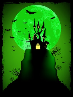 Scary halloween  with magical abbey.  vector file included