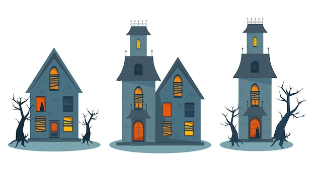 Страшный дом с привидениями и разбитые окна дом ужасов на хэллоуин набор векторные иллюстрации в квартире
