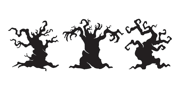 Scary haunted tree. halloween ghost tree silhouette vector.
