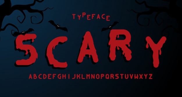 Scary horror alphabet font.