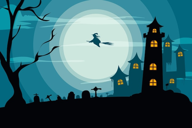 Scary house halloween background