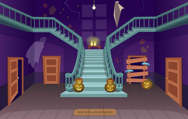Scary house with stairs, ghosts,  doors, pumpkins. halloween cartoon vector illustration.
