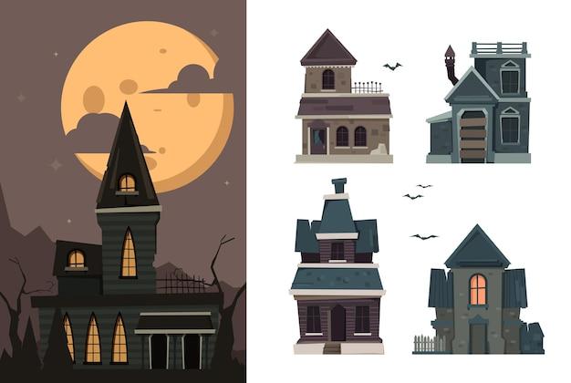 Страшные дома. жуткие здания на открытом воздухе в деревне с привидениями ужасов для хэллоуина. жуткий и страшный дом для иллюстрации хэллоуина