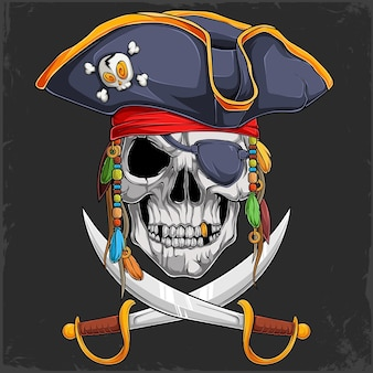 Scary human skull head in pirate hat with two crossed swords halloween skeleton pirate face