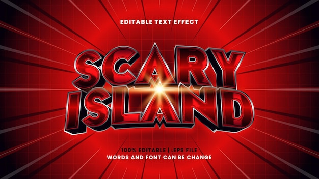 Scary island editable text effect in modern 3d style
