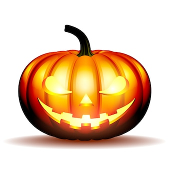 Scary jack o lantern halloween pumpkin with candle light inside,  illustration