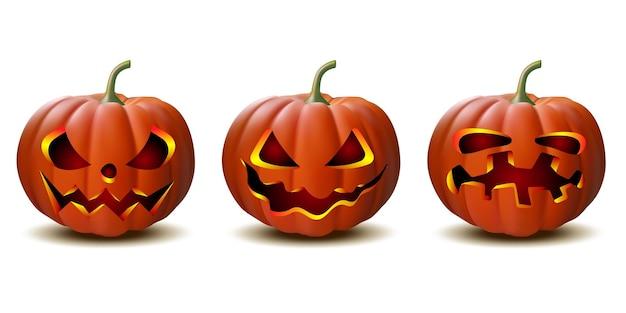 Страшная тыква хэллоуина фонаря джека при свечах внутри, набор тыкв хэллоуина в векторе с разными лицами для значков и декораций на белом фоне. векторная иллюстрация.
