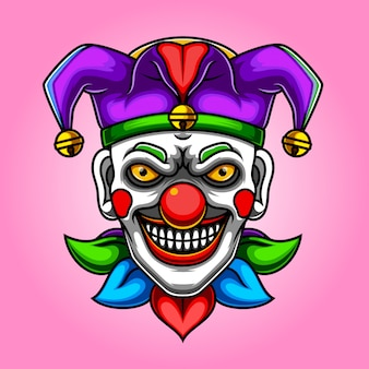 Scary joker clown illustration