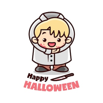 Scary kids halloween costume cartoon illustration