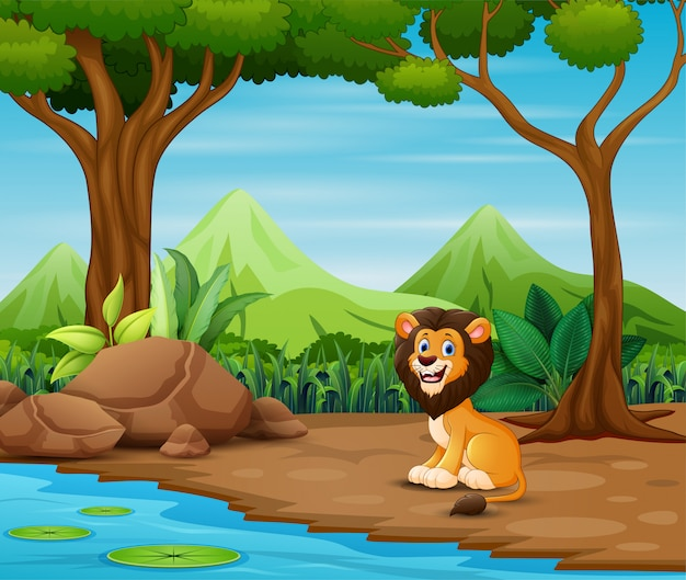 Scary lion cartoon living in the forest