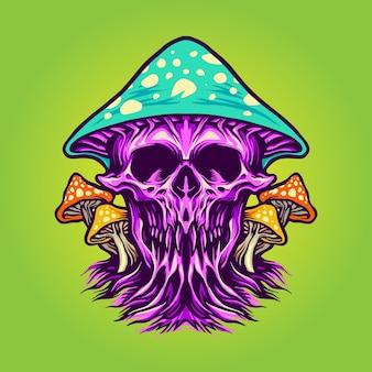 Scary magic mushrooms illustrations
