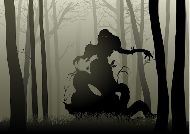 Scary monster in dark woods