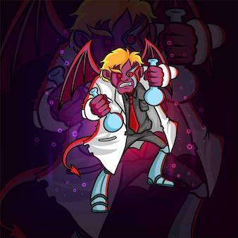 The scary monster devil scientist of illustration