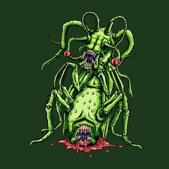 Страшный монстр кузнечик иллюстрация