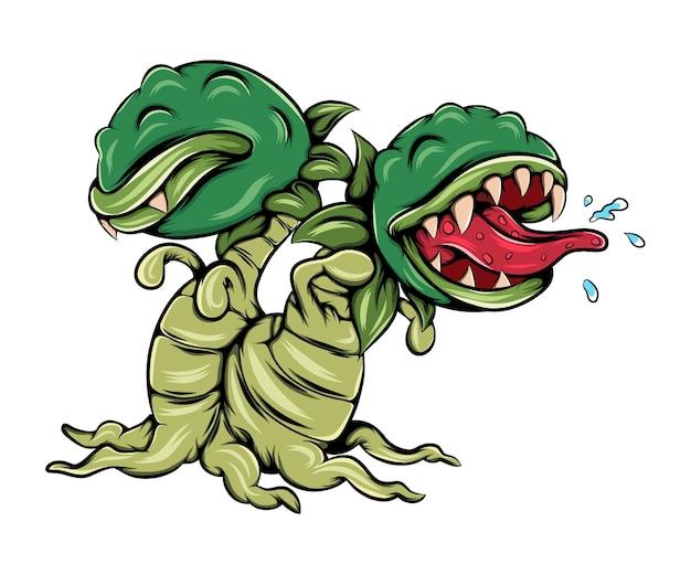 두 개의 머리와 입으로 무서운 괴물 식물