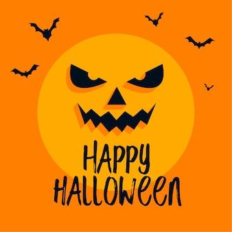 Faccia di luna spaventosa e pipistrelli sulla carta di halloween felice