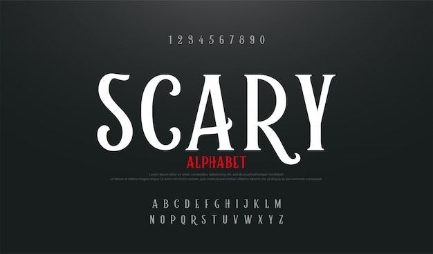Scary movie alphabet font