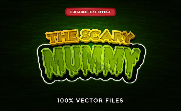 The scary mummy text effect premium vector