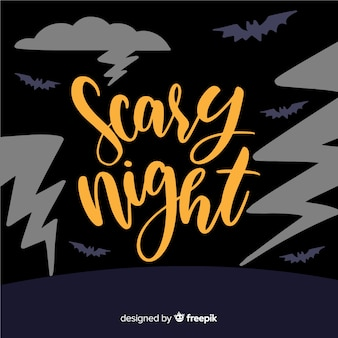 Scary night of halloween lettering background
