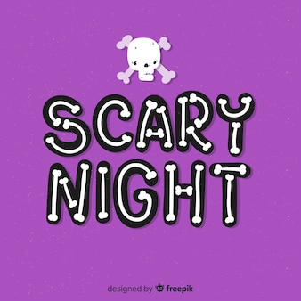 Scary night halloween lettering background