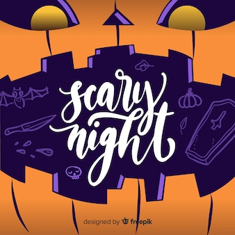 Scary night lettering in a curved pumpkin