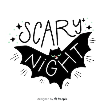 Scary night lettering with bat