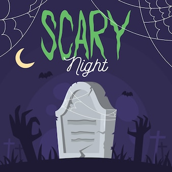 Scary night lettering with grave