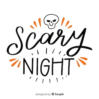 Scary night lettering with skull