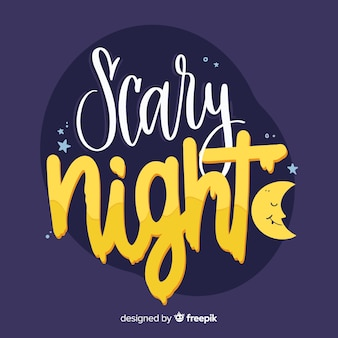 Scary night lettering with sleeping moon