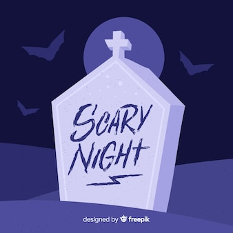 Scary night lettering with tomb stone
