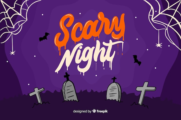 Scary night lettering with tomb stones