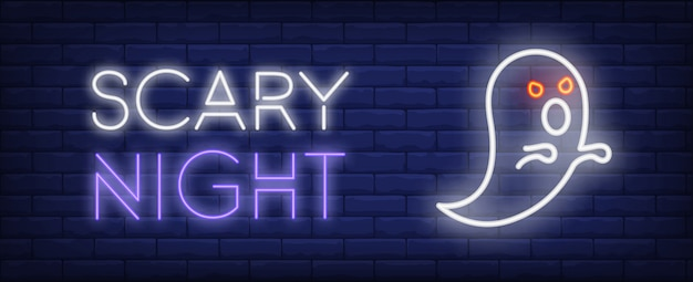 Scary night neon style banner. bright white spooky ghost on brick background.