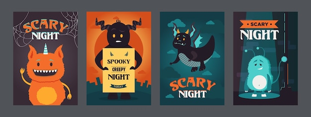 Scary night posters design with funny monsters. vivid bright brochure for spooky party. halloween and holiday concept. template for promotional leaflet or flyer