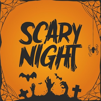 Scary night and spider web halloween lettering
