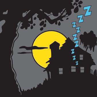무서운 오래된 어두운 습지 집 잠자는 달