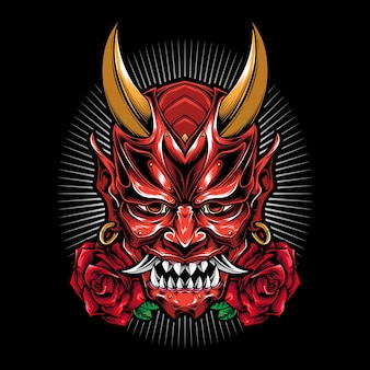 Scary oni mask with rose