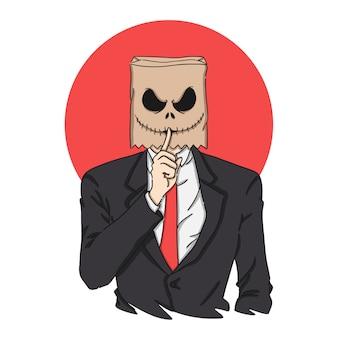 Страшный бумажный мешок голова хэллоуин маска иллюстрация